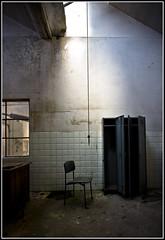 Solitude or torture ? (Funky64 (www.lucarossato.com)) Tags: light abandoned chair factory dramatic drama sedia luce suicidio solitudine corda behindtheglass abbandono tintoria galliate robuk aplusphoto trashbit lucarossato funky64