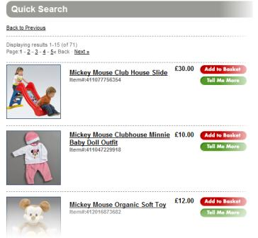 Disney store search results