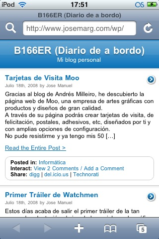 Mi blog optimizado para iPhone / iPod Touch