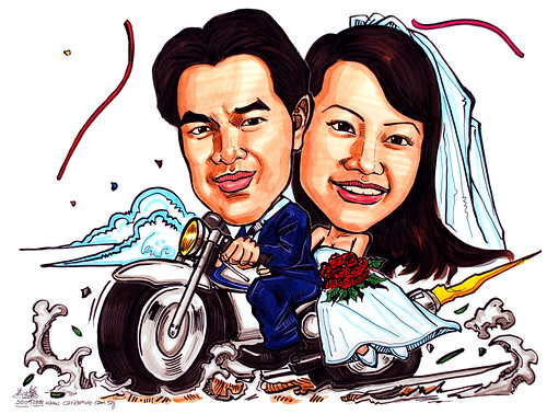 Couple caricatures wedding on bike