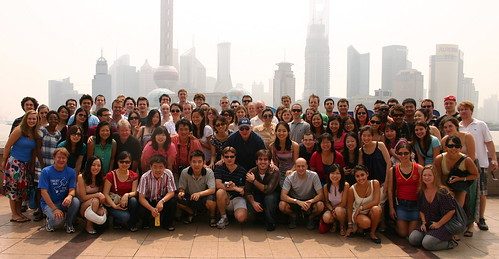 The group gathered for a group shot on the Bund on the way to the Museum