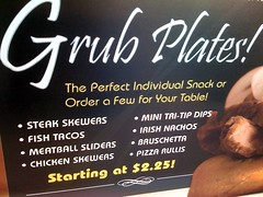 Irish Nachos (JesApe) Tags: cameraphone food sign steak meatball claimjumpers fishtacos iphone sliders chickenskewers irishnachos grubplates