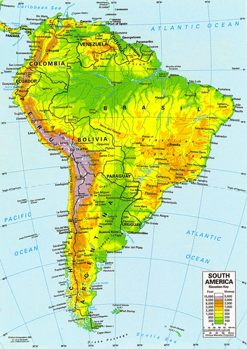Mapa de América del Sur (Sudamérica) - mapa da América do Sul - map of South America