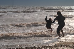 It's great to be 3 (lizzyem) Tags: sea for jumping waves ben uncle joy christian nephew iow