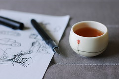 Draw with Tea (Inside_man) Tags: macro texture sketch colorful bokeh hobby passion teacup blacktea sooc blackinkpen drawwithtea