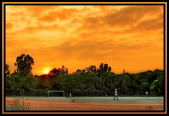 Cricket Sunset HDR (Mike G. K.) Tags: park trees sunset sky orange sun playing game tower field clouds asian football university track ray play soccer cyprus cricket greenery srilanka ucy sunrays hdr sunray nicosia blueribbonwinner photomatix supershot mywinners theunforgettablepictures platinumheartaward closetoreality aglandjia aglantzia aglanjia mikegk:gettyimages=submitted