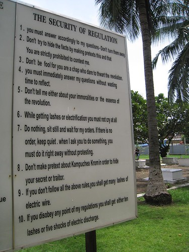 The absurd rules for prisoners, with graves as a backdrop