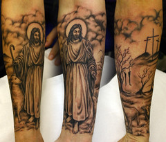 Jesus-and-hanging-tree-tattoo (The Tattoo Studio) Tags: blackandwhite art tattoo ink religious grey ray cross sheep arm skin jesus flock gray tattoos angelic sleeve crucifixion skinart crayford crucify tattood hangingtree skinink blackandskin