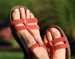 just sitting here waiting for an epiphany (Lori-B.) Tags: sun feet home me garden foot toes sitting hand sandals patio redshoes merrell indiansummer epiphany handandfoot