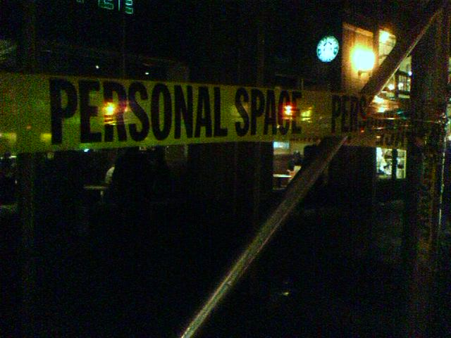 Personal Space yellow warning tape