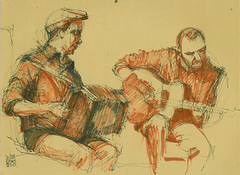 Musiciens XII (Laura Genz) Tags: shadow musician music playing man paris france men face ink sketch concert guitar drawing band accordion dessin ombre 2008 groupe homme musique visage guitare encre musicien jouer accordon