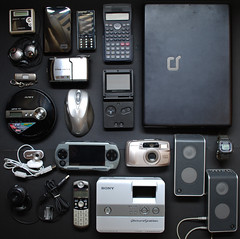 My Electric Friends (Weijiangg) Tags: camera white black psp grey webcam nikon phone walkman printer laptop sony watch creative monotone casio calculator coolpix mp3player gameboy speakers handphone s4 compaq westerndigital thumbdrive k810i sandiskcruzertitanium compaqpresariov3500