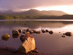 Aviemore (nordic lady) Tags: pictures sunset shadow mountains water yellow landscape evening scotland forrest stones hill scottish your website bbc shade milky cairngorms