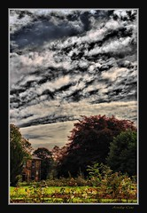 Rosehill park house and rose garden (Andy Coe) Tags: park autumn trees sky house storm colour grass sunshine victoriapark play sony swings colourful alpha bandstand sureal rosegarden hdr greysky rotherham southyorkshire a700 rawmarsh rosehillpark