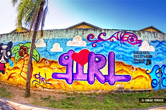 Girl Graffiti (Omar Junior) Tags: street blue sky urban streetart color muro art texture textura colors girl rio azul wall cores geotagged graffiti grande avenida mural colorful paint arte pentax painted graf cartoon mural