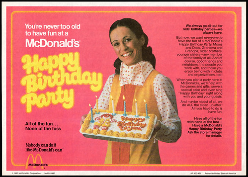McDonalds Trayliner Placemat - Happy Birthday Party Hostess - 1980