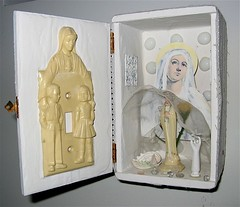 white box series 6 (jenniferbeinhacker.com) Tags: collage religious shrine rawart folkart outsiderart assemblage mixedmedia madonna prayer religion pray altar selftaught boxart artbrut foundobjects lightswitch acrylicpainting cigarbox visionaryart jenniferbeinhackercom