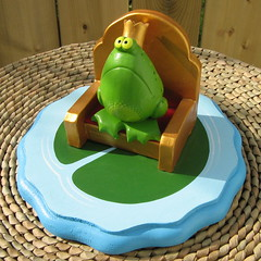 The Frog Prince - whimsical original sculpture (Star Shine Gallery) Tags: wood original sculpture art plaque fun artwork handmade mixedmedia unique oneofakind ooak painted humor royal prince humour frog clay crown figurine royalty whimsical