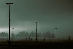Parking Lot Fog Duotone (Asbestos Bill) Tags: art fog digital parkinglot streetlamp streetlights duotone