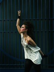 (ljosberinn) Tags: blue london fashion shirt composition fence pose hair model punk makeup shoreditch mohawk eyebrows sammiecartwright ameliaebanks