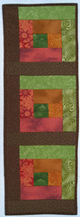 Autumn Leaves Orange Brown Chartreuse Green Wallhanging or Half size Tablerunner (suchprettycolors) Tags: crafts autumnleaves autumncolors patchwork warmtones tablelinens