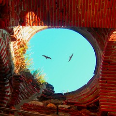 Over the tower (horstgeorg) Tags: red sky seagulls tower art architecture stones gulls bricks bulgaria blacksea nesebar nessebar nesebur