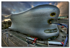 Selfridges, Birmingham (rjt208) Tags: road street city uk greatbritain england sky man building bus car yellow shop clouds shopping design town store birmingham dynamic britain centre bull ring passengers selfridges department westmidlands discs bullring tonemapped tonemapping abigfave rjt208 damniwishidtakenthat mygearandme