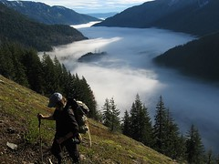 hiker above the fog