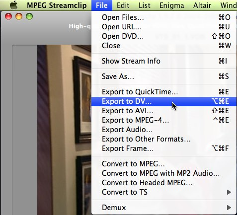 MPEG Streamclip - Export to DV