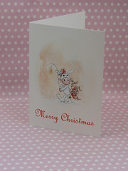 bunny card (ollerina) Tags: christmas xmas rabbit bunny art mushroom illustration vintage painting festive cards monkey buttons magic tags magnets pixie elf gifts fairy fantasy watercolour childrens etsy badges magical elves