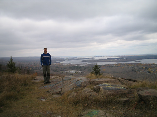 Sam above Duluth, MN with Lake Superior in the background