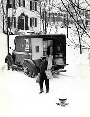 Parcel Post Truck and Carrier (Smithsonian Institution) Tags: winter snow uniform post mail 1950s uniforms usps parcel package mailman postman mailorder smithsonianinstitution usmail nationalpostalmuseum postvan commons:collection=mail