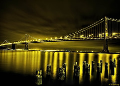 On The Dock Of The Bay (Michael Brooking Photography) Tags: ocean sanfrancisco nightphotography cars water night lights bay pier dock pacific piers historic baybridge embarcadero sanfranciscobay hdr connection trafic sanfranciscobaybridge abigfave aplusphoto theunforgettablepictures goldstaraward michaelbrookingphotography