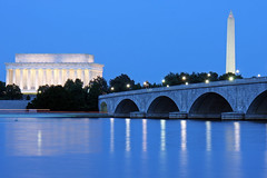 The Potomac River and Washington DC during the Blue Hour (ianseanlivingston) Tags: river washingtondc dc washington dusk lincolnmemorial dcist potomac bluehour washingtonmonument memorialbridge potomacriver