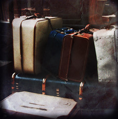 All packed! ({JO}) Tags: york old uk vintage luggage textured suitcases railwaymuseum