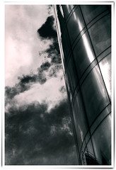 glass and sky (...the truth is hidden...) Tags: uk pink blue england sky blackandwhite white black west glass clouds digital canon reflections manchester eos 350d rebel xt kiss raw britain united great north n single split toned tone hdr hdri kindom bulding toning briton