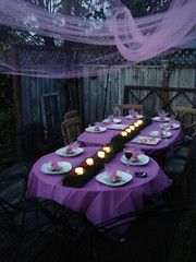 Birthday Table Spread (miss.mallory) Tags: birthday pink party green grass table candlelight hostess tulle placesetting sod votive tablescape tabledecor partydecor cupcakebites