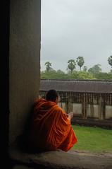Angkor Wat - temple and monk