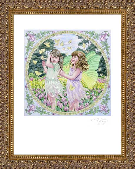 """Fairies and Butterflies"" ER8 by Elizabeth Ruffing, Print Framed"