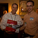 Bill Winsininski congratulates Stan Fisher for winning the 1TB Hard Drive from Imprint Enterprises