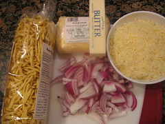 Noodles, Soft Cheese, Butter, Onions, Paramesan cheese