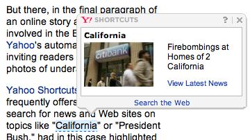 Yahoo Shortcuts Issue