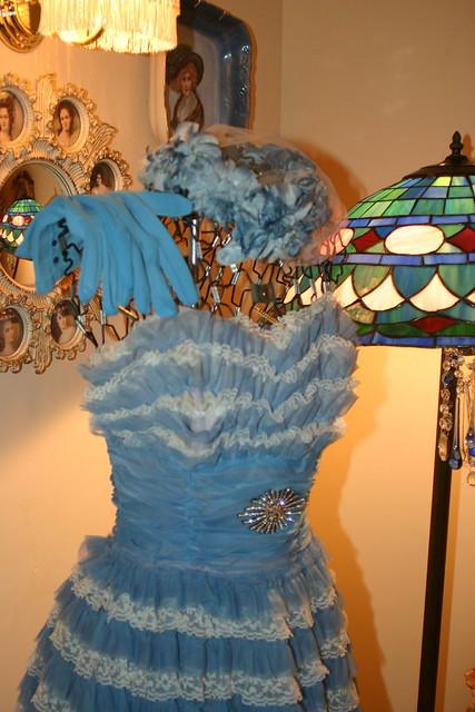 blue dress lace vignette floorlamp shabbychic shadesofblue stainedglasslamp vintagehat vintagegloves vintagepromdress cornerofmyroom vintagedressform wiredressform