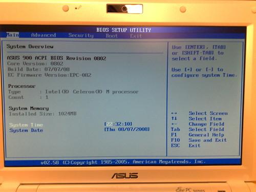 Asus eeepc 900 BIOS