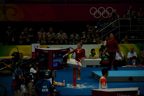 The only time she lost her cool is when she broke out into this huge grin after she knew shed aced the Parallel Bars.