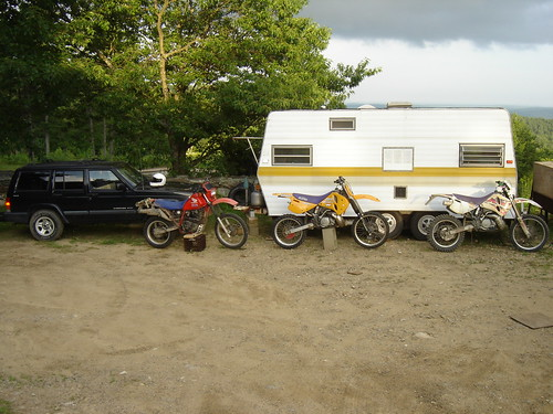 Jeep, Motorcycles and Camper