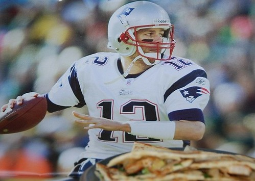 enjoying chicken quesadillas with tom brady