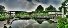 Artgarden Pond (®DS) Tags: wood blue trees sky people panorama white tree green art water clouds reflections garden grey pond foliage visitors hdr veluwe rds kunstroute artgarden ®ds