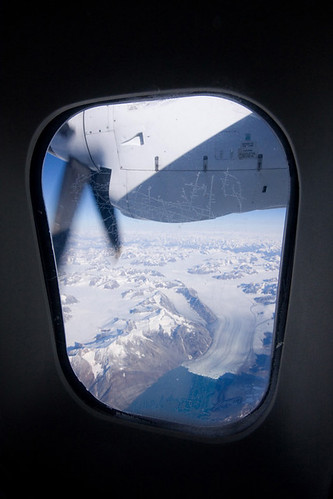 View from the air plane on the way to Greenland as we approach Kangerlussuaq