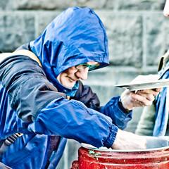 Hungry blue hoodie (olikristinn) Tags: blue people food kitchen iceland hoodie faces vegetable reykjavik hungry bombs foodnotbombs reykjavkcity maturekkirkisstjrn